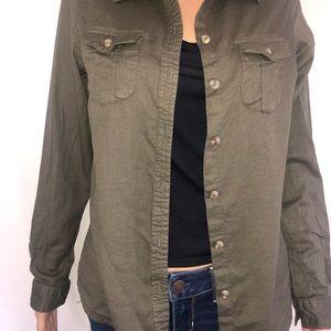 Japna Tops - Japna army green button down shirt